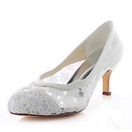 baratos Sapatos Femininos-Mulheres Stiletto Heels Cetim com Stretch Primavera / Verão Saltos Salto Agulha Ivory / Casamento / Festas & Noite