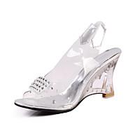 tanie Obuwie damskie-Damskie Obuwie Derma Lato Jesień Bez pięty Koturn Translucent Heel Na Formalne spotkania Silver Golden