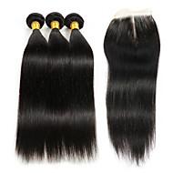 Trama do cabelo com Encerramento Cabelo Brasileiro Kinky Curly 4 Peças tece cabelo