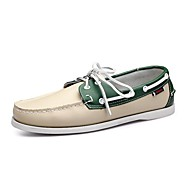 cheap Men's Boat Shoes-Men's Shoes Leather Spring / Fall Comfort Boat Shoes Walking Shoes Brown / Red / Green