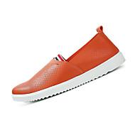 tanie Obuwie męskie-Męskie Buty Materiał Derma Lato Comfort Mokasyny i pantofle Spacery na Casual White Black Orange