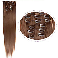 "22 ""(60cm) 7pcs # 60 blonde clip in hair extensions lang blond haar vezels synthetisch haar blonde haren extentie"