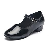 billige Moderne sko-Barne Latin Moderne Lakklær Høye hæler Innendørs Trening Spenne Flat hæl Svart Sølv Kan spesialtilpasses