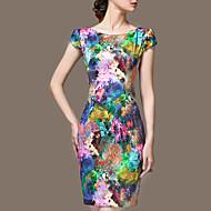 Damer Sofistikerede I-byen-tøj Plusstørrelser Skede Kjole Blomstret,Rund hals Over knæet Kortærmet Silke Forår Sommer Efterår Alm. taljede