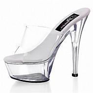baratos Sapatos Femininos-Mulheres Sapatos PVC Primavera / Verão Tênis com LED / Sapatos clube Saltos Salto Agulha / Heel translúcido / Salto Alto de Cristal Branco
