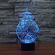 bb-8 toque escurecimento 3D conduziu a luz da noite 7colorful decoração atmosfera lâmpada de iluminação novidade luz de Natal