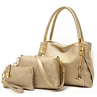 Damen Taschen PU Umhängetasche 3 Stück Geldbörse Set für Normal Schwarz Dunkelblau Golden