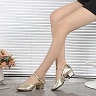 billige Kustomiserte dansesko-Dame Sko til latindans / Moderne sko Lær Høye hæler Spenne Flat hæl Kan spesialtilpasses Dansesko Sølv / Gylden / Trening
