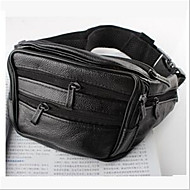 Men Bags PU leatherette Waist Bag Zipper for Casual Outdoor Fall Black Brown