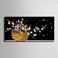 billige Veggklokker-Moderne / Nutidig Blomst / Botanikk Wall Clock,Rektangulær Lerret 30 x 60cm(12inchx24inch)x1pcs/ 40 x 80cm(16inchx32inch)x1pcs Innendørs