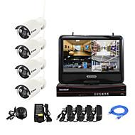 YanSe® 10-inch Screen 1.3MP PNP Wireless NVR Kit IR Night Vision Security IP Camera WIFI CCTV System(4pcs/HDMI/960P/P2P)