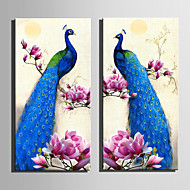 baratos -Animal Floral/Botânico Estilo Europeu,2 Painéis Tela Vertical Estampado Decoração de Parede For Decoração para casa