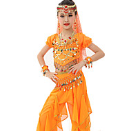 cheap Dancewear & Dance Shoes-Belly Dance Outfits Children's Performance Gold Coins Ruched 7 Pieces Fuchsia / Light Blue / Light Green /  Royal Blue