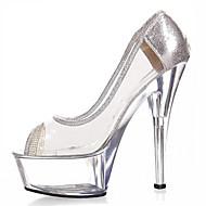 Damă Tocuri Primăvară Vară Toamnă Pantofi Club Aprinde saboții Luciu PVC Nuntă Outdoor Party & SearăToc Stiletto Toc de Cristal Heel