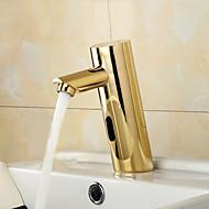Moderni Integroitu Tunnistin with  Magneettiventtiili Hands free yksi reikä for  Ti-PVD , Kylpyhuone Sink hana