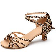 baratos Sapatilhas de Dança-Mulheres Sapatos de Dança Latina / Sapatos de Dança Moderna Cetim Salto Presilha Salto Agulha Personalizável Sapatos de Dança Leopardo