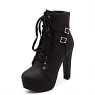 baratos Sapatos de Tamanho Pequeno-Mulheres Sapatos Sintético / Courino / Microfibra Outono / Inverno Conforto / Inovador / Plataforma Básica Botas Caminhada Salto Robusto
