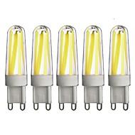 baratos Luzes LED de Dois Pinos-5pçs 350lm G9 Luminárias de LED  Duplo-Pin T 4 Contas LED COB Regulável Branco Quente Branco Frio 220-240V
