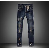 Masculino Casual Cintura Média strenchy Jeans Calças,Lápis Sólido