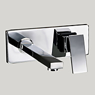 cheap Bathroom Sink Faucets-Contemporary Modern Wall Mounted Rotatable Brass Valve Two Holes Single Handle Two Holes Chrome, Bathroom Sink Faucet