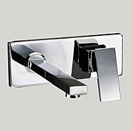 billige Rabatt Kraner-Moderne Vægmonteret Roterbar Messing Ventil To Huller Enkelt håndtak To Huller Krom, Baderom Sink Tappekran