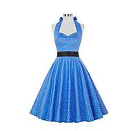 Damer Vintage I-byen-tøj A-linje Kjole Prikker,Grime Knælang Uden ærmer Polyester Sommer Alm. taljede Mikroelastisk