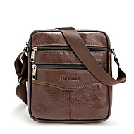 cheap Shoulder Bags-Men's Bags Cowhide Crossbody Bag Zipper for Casual Outdoor All Seasons Black Coffee