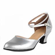 billige Moderne sko-Dame Latin Moderne Kunstlær Sandaler Utendørs Spenne Lav hæl Sølv Fuksia Gylden 4 cm Kan ikke spesialtilpasses