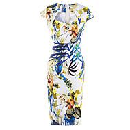 צווארון מרובע עד הברך דפוס, פרחוני - שמלה צינור סגנון רחוב ליציאה בגדי ריקוד נשים / רזה