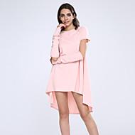 Feminino Solto Vestido,Casual Sólido Decote Redondo Assimétrico Manga Curta Poliéster Todas as Estações Sem Elasticidade Média