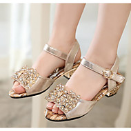 billige Sko til blomsterpiger-Pige Sko Læder Sommer Sandaler Perle for Afslappet udendørs Gylden