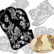 cheap Airbrush Tattoos-2pcs New Tattoo Foot Tattoo Stencil Henna Tatoo Paste Template Hand Painting Art For Left and Right Foot