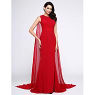 Sereia Decorado com Bijuteria Cauda Watteeau Chiffon Evento Formal Vestido com Franzido de TS Couture®
