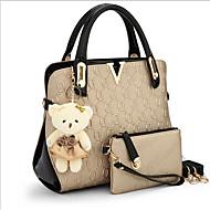 お買い得  バッグ-女性用 バッグ キャンバス トート 2個の財布セット のために カジュアル アウトドア ベージュ パープル ブルー ピンク ゴールデン