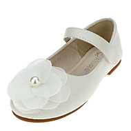 Para Meninas sapatos Couro Primavera Outono Rasos Flor Velcro Para Casamento Casual Social Festas & Noite Preto Prata Bege