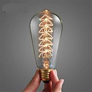 billige Glødelampe-1pc 40 W E26 / E27 ST64 Varm hvit 2300 k Kontor / Bedrift / Mulighet for demping / Tre Glødende Vintage Edison lyspære 220-240 V