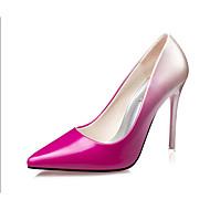 baratos Sapatos Femininos-Mulheres Sapatos Couro Envernizado Verão Saltos Salto Agulha para Casual Preto Prata Fúcsia Vinho
