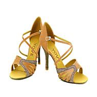 Može se prilagoditi - Ženske - Plesne cipele - Latin / Salsa - Satin / Vještačka koža - Prilagođeno Heel -Crn / Plav / žut / roze /