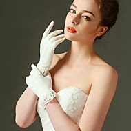 billiga Brudhandskar-elastisk satin handledshandske brudhandskar klassisk feminin stil