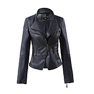 cheap -Women's Daily Spring / Fall Short Leather Jacket, Solid Colored V Neck Long Sleeve PU White / Black / Wine XXL / XXXL / 4XL