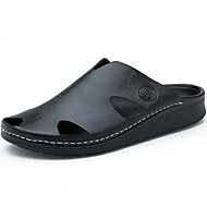 Herren Schuhe Leder Sommer Komfort Slippers & Flip-Flops Für Normal Schwarz Braun Blau