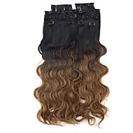 茶色の人工毛横糸8本/セットオンブルヘアエクステンション上でneitsi 60センチメートル165グラムカール波状クリップ