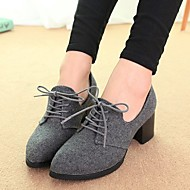 cheap Clearance-Women's Shoes Leatherette Fall Oxfords Chunky Heel for Casual Black Light Grey