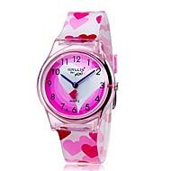 billige Quartz-Quartz Armbåndsur Farverig Plastik Bånd Heart Shape Slik Afslappet Mode Sej Pink