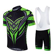 Fastcute Homens Mulheres Manga Curta Camisa com Bermuda Bretelle - Verde/preto Moto Calções Bibes Tights Bib Camisa/Roupas Para Esporte