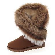 Women's Boots Winter Fashion Boots Fleece Casual Flat Heel Fur Black / Brown / Green