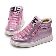 女の子 靴 PUレザー 秋 スニーカー チェーン 用途 カジュアル ピンク ゴールデン