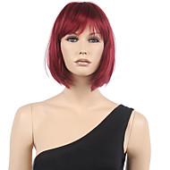 Kadın Sentetik Peruklar Bonesiz Şort Düz Siyah / Bordo Bob Saç Kesimi Bantlı Cosplay Peruk kostüm Peruk