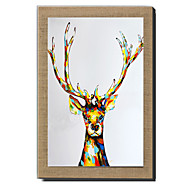 Modern Wall Art Abstract Oil Painting Deer Hand Painted On Natural Linen With Stretched Frame For Living Room