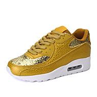 Dames Sneakers Comfortabel Weefsel Lente Herfst Causaal Comfortabel Veters Platte hak Wit Zwart Gouden Plat
